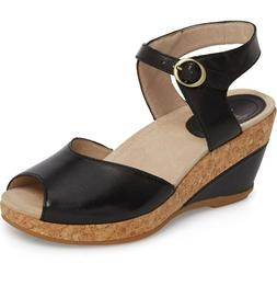 Dansko Women's Charlotte Ankle Strap Wedge Sandals Black Ful