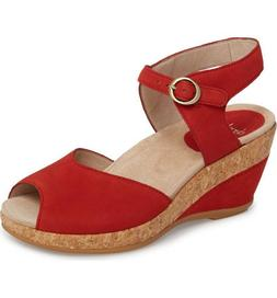 Dansko Women's Charlotte Ankle Strap Wedge Sandals Tomato Nu