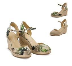 Women's Closed Toe Ankle Strap Espadrille Wedge Sandals Vacu