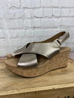 Women's CLARKS Collection 9W 9 wide bronze leather slingback