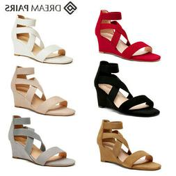 DREAM PAIRS Women's Elastic Ankle Strap Low Wedge Sandals Op
