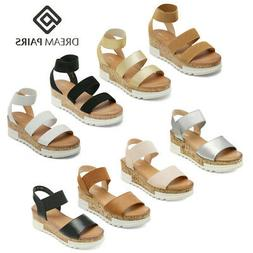 DREAM PAIRS Women's Elastic Ankle Strap Open Toe Sandals Pla