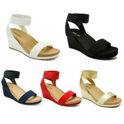 DREAM PAIRS Women's Wedge Sandals Open Toe Elastic Ankle Str