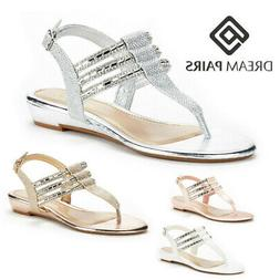 DREAM PAIRS Women Estelle_W Summer Buckle Fashion Rhinestone