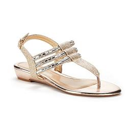 DREAM PAIRS Women's Estelle_W Gold Fashion Rhinestones Low W