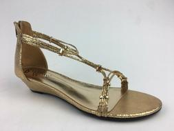 Bellini Women's Flip Wedge Sandals, Size 11 M, Gold Reptile
