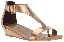 Kenneth Cole REACTION Women's Gal Wedge Sandal, Medal Gold,