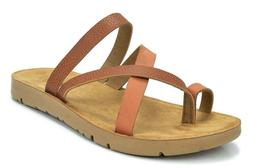 DREAM PAIRS Women's GREEK-03 Tan Platform Wedge Flat Sandals