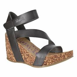 Blowfish Women's, Hapuku High Heel Wedge Sandals Charcoal 8