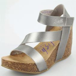 Women's Blowfish HAPUKU Pewter Sticking Strap Wedge Sandal S