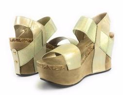 Women's Pierre Dumas Hester 1 Gold Wedge Sandals Open Toe El