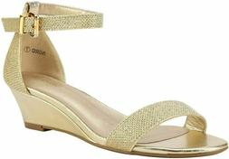 DREAM PAIRS Women's Ingrid Ankle Strap Low Wedge Sandal