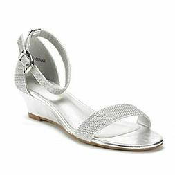 DREAM PAIRS Women's Ingrid Ankle Strap Low Wedge Sandal, Sil