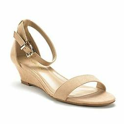 DREAM PAIRS Women's Ingrid Ankle Strap Low Wedge Sandal, Nud