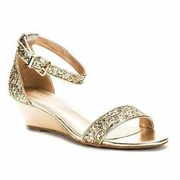 DREAM PAIRS Women's Ingrid Ankle Strap Low Wedge Sandal, Gol