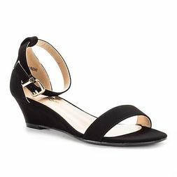 Dream Pairs Women's INGRID Black Nubuck Ankle Strap Low Wedg