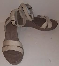 Crocs Women's Sandal Leigh II IVORY Ankle Strap Wedge Sandal