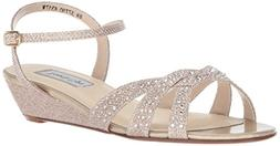 Touch Ups Women's Lena Wedge Sandal, Champagne, 9 W US