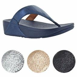 FitFlop Women's Lulu Glitzy Leather Wedge Thong Sandals
