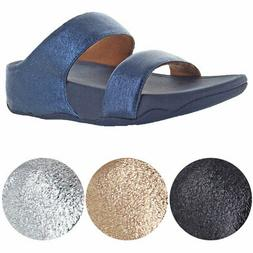 FitFlop Women's Lulu Glitzy Slide Leather Wedge Sandals