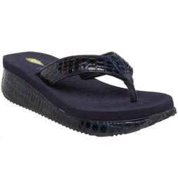 Volatile Women's Mini Croco Wedge Sandal, Navy, 9 B US