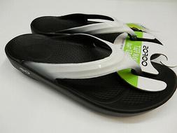 OOFOS Women's OOlala Thong Flip Flop, Black/Cloud/White, 8 M