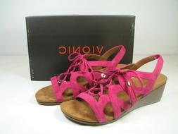 Vionic, Women's Pink Park Kalie Leather Wedge Sandals
