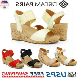 DREAM PAIRS Women's Platform Wedge Summer Sandals Ankle Stra