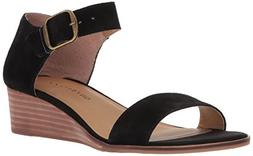 Lucky Brand Women's Riamsee Wedge Sandal, Black, 7 M US