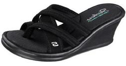 Women's SKECHERS RUMBLERS YOUNG AT HEART Black Wedge Sandals