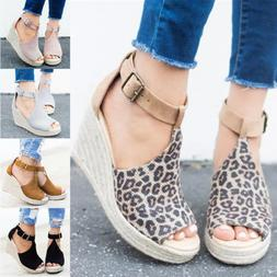 Women's Sandals Espadrilles Wedge High Heels Platform Ankle