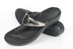 Crocs Women's Sanrah Metallic Strap Wedge Sandal Size 7 Blac