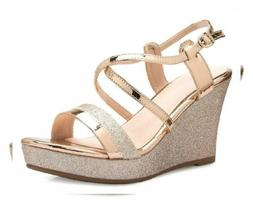 OLIVIA K Women's Sexy Strappy Platform Wedge Glitter Sandals