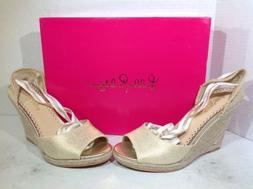 Lilly Pulitzer Women's Size 7 Alyssa Gold Metallic Casual We