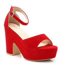 Women's Solid Color Open Toe Ankle Strap High Heels Wedge Sa