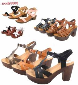 Women's Strappy Chunky Platform Wedge Heel Sandal Shoes All