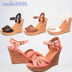 Women's Summer Fashion Buckle Open Toe Wedge Platform Sandal