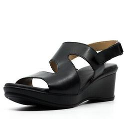 Naturalizer Women's Valerie Wedge Sandals Black Leather Size