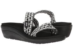 Teva Women's Voya Loma Wedge Sandals Tonya Black/White