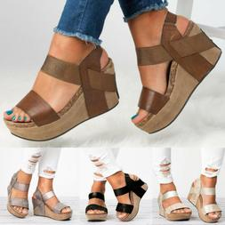 Women's Wedge Heel Ladies Summer Platform Sandals Open Toe C