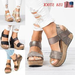Women's Wedge Heel Sandals Ladies Summer Platform Sandals Op