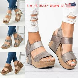Women's Wedge Heel Sandals Summer Casual Platform Sandals La