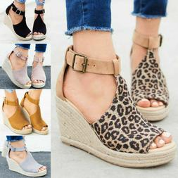 Women's Wedge High Heel Espadrilles Sandals Ankle Strap Casu