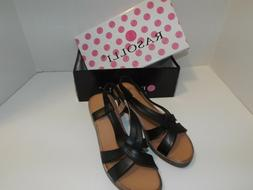 women s wedge sandals black straps brown