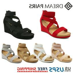 Women's Wedge Sandals Elastic Ankle Strap Open Toe Back Zipp