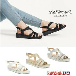 DREAM PAIRS Women's Wedge Sandals Slingback Ankle Strap Open