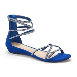 DREAM PAIRS Women's Weitz Royal Blue Ankle Strap Rhinestones
