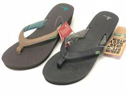 Sanuk Women's Yoga Mat Wedge SWS3053 Flip Flops Sandals Thon