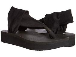 Sanuk Women's Yoga Sling Wedge Flip Flop, Black, 10 M US