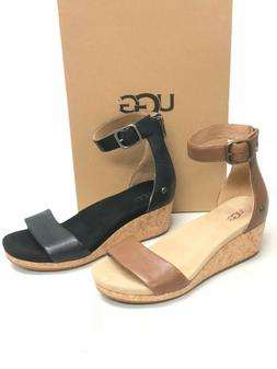 UGG Australia Women's Zoe II Leather Open Toe Wedge Sandal 1